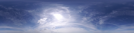 deg: Seamless 360 deg cloudscape with feather clouds on a blue sky    Stock Photo