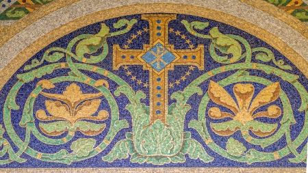 earliest: Mosaic christian cross with the symbol Chi Rho, one of the earliest forms of christogram Stock Photo