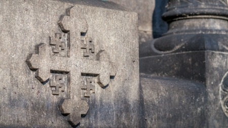 mismatch: Cross crosslet or Jerusalem cross with 4 swastika from the Church of Jesus in Denmark Stock Photo