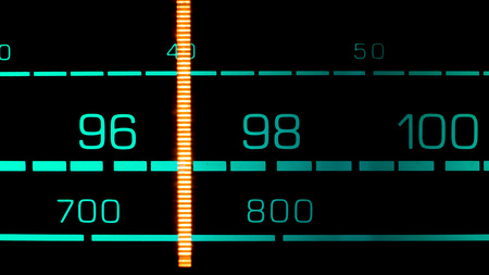fm: Tuning into 97 MHz FM on an old 70s radio receiver Stock Photo