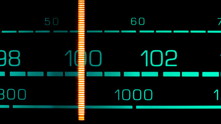 fm: Tuning into 100 MHz FM on an old 70s radio receiver Stock Photo