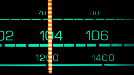 fm: Tuning into 104 Mhz FM on an old 70s radio receiver