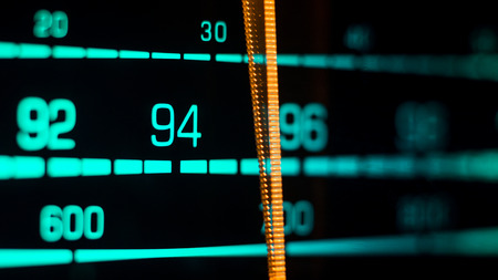 hi fi: Tuning into 94FM on an old 70s radio receiver seen from the side