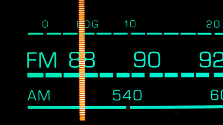 hifi: Tuning into 88 MHz FM on an old 70s radio receiver Stock Photo