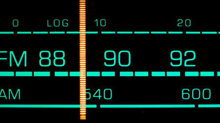 fm: Tuning into 89 MHz FM on an old 70s radio receiver Stock Photo