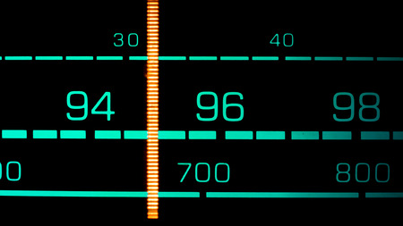 fm: Tuning into 95 MHz FM on an old 70s radio receiver Stock Photo