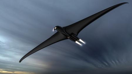 intimidating: Scary futuristic hawk or eagle shaped drone