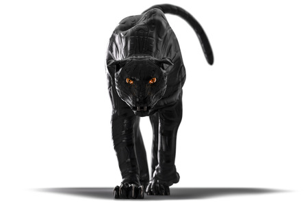 Evil looking cyborg black panther with red glowing eyes walking towards camera on white background. this version has reflection in the left eye