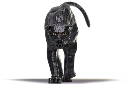 biomechanical: Evil looking cyborg black panther with red glowing eyes walking towards camera on white background. this version does not have reflections in the eyes Stock Photo