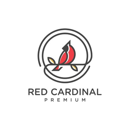 unique red cardinal logo outline 向量圖像