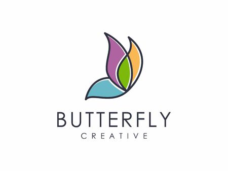 abstract butterfly outline unique logo