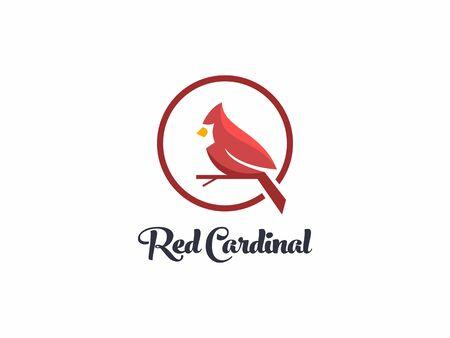 unique amazing red cardinal bird logo