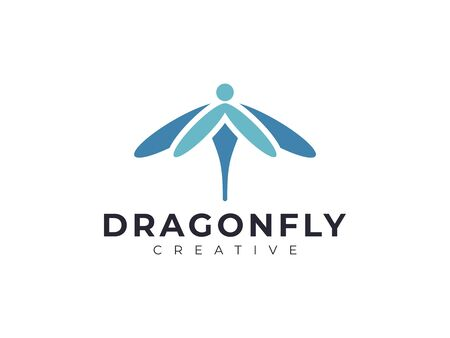 elegant beauty dragonfly logo design vector