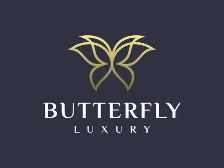 Adorable Unique Elegant Butterfly Logo Design Vector