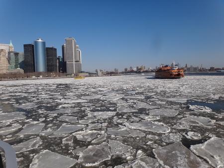 staten: Staten Island Ferry on a frozen Hudson river