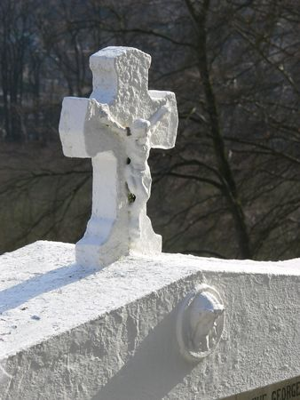 jezus: white crucifix on a grave, Spa, Belgium