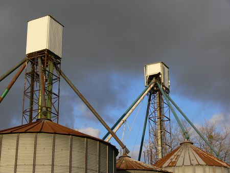 silos with dark background