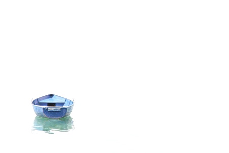 Blue boat on invisible lake