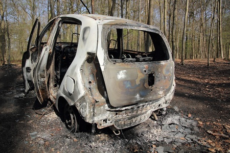 burnt car wreck in forest  3