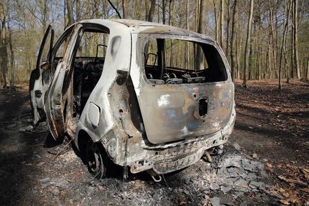 Uitgebrande autowrak in bos 3 Stockfoto - 13084128