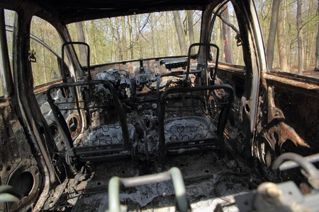 astray: burnt car wreck in forest  2