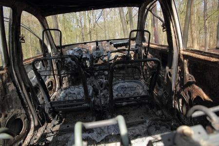 uitgebrande autowrak in bos 2 Stockfoto