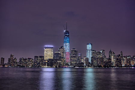 Downtown Manhattan gezien vanaf New Jersey Stockfoto