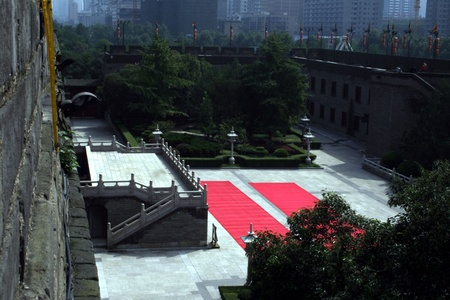 downtown of Xian, Courtyard at the south gate, red carpet photo