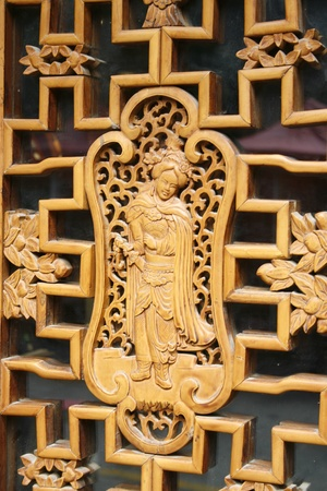 downtown of Xian, Wooden door in the old town photo