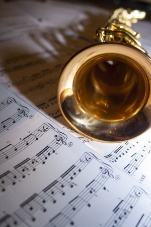 sheet music: A soprano saxophone lying on sheet music