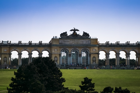 the gloriette: park of Schonbrunn with Gloriette