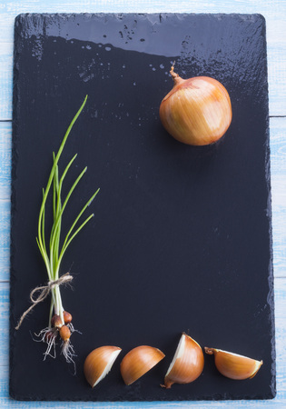 Green onion on the black background. Stock Photo