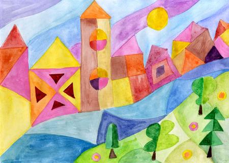 Landschap met stadsrivier en het boswaterverf schilderen