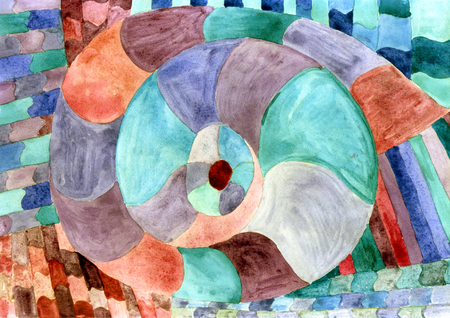 Shellfish snail spiral in shades of green brown watercolor abstraction.