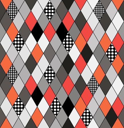 Patrón de vector sin fisuras con rombos y ornamentos geométricos decorativos retro fondo retro . estilo geométrico abstracto . Foto de archivo - 96112030