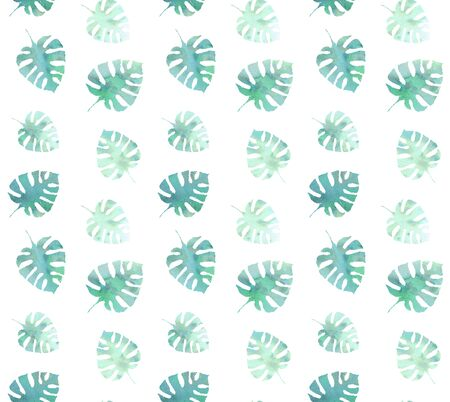 Seamless pattern tropical leaf watercolor green delicate on a white background