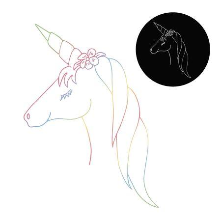 Linear unicorn vectone line for decorative design. Cute magic cartoon fantasy cute animal.