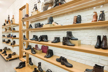 Women shoes and handbags in a store