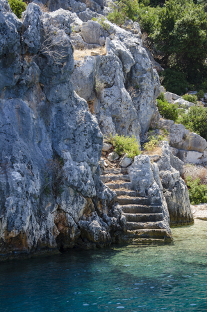 Ancient city of Simena, sunken cty of Kekova, Lycian coast, Lycia, Mediterranean