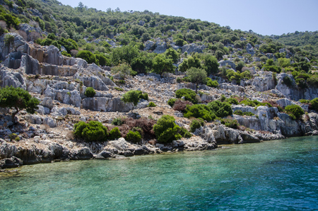 Ancient city of Simena, sunken cty of Kekova, Lycian coast, Lycia, Mediterranean
