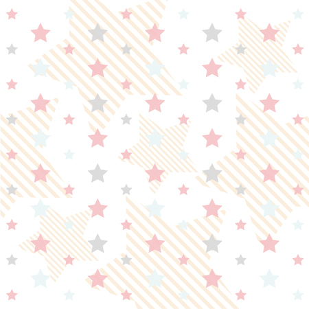 Primitive retro seamless pattern with stars and circles in pastel colors ideal for baby shower