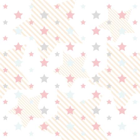 Primitive seamless rétro avec des étoiles et des cercles dans des couleurs pastel idéales pour le bébé