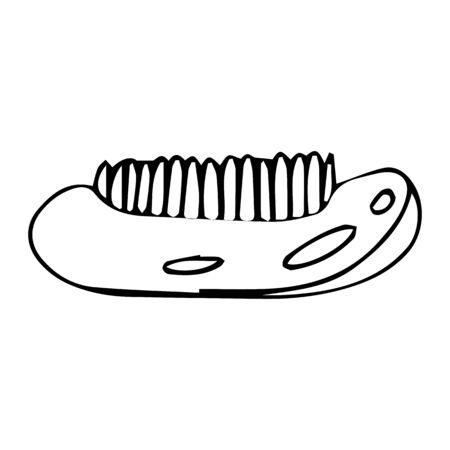 Wooden body brush on an isolated white background. Eco element for spa treatments. Massage brush hand drawn. Stock vector illustration.