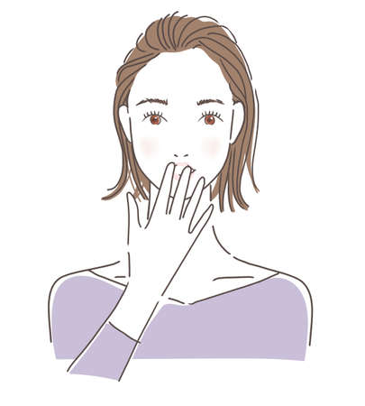 Woman putting her hand on her mouth 版權商用圖片