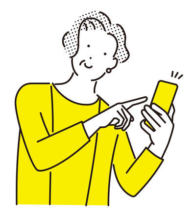 Elderly woman pointing at her smartphone with a smile