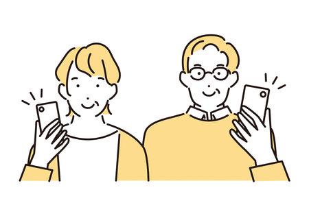 Illustration of a senior couple smiling with a smartphone Vektoros illusztráció