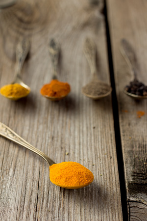 curcuma: Curcuma powder on cooper spoon Stock Photo