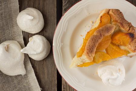 shortcake: Piece of peach shortcake and meringues