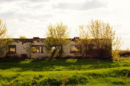 brocken: Ruined house in sunlight selective focus