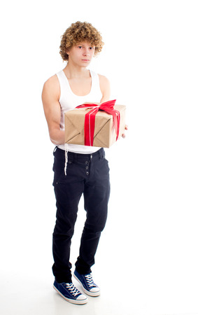 sexy image: an image of sexy young guy gives gifts